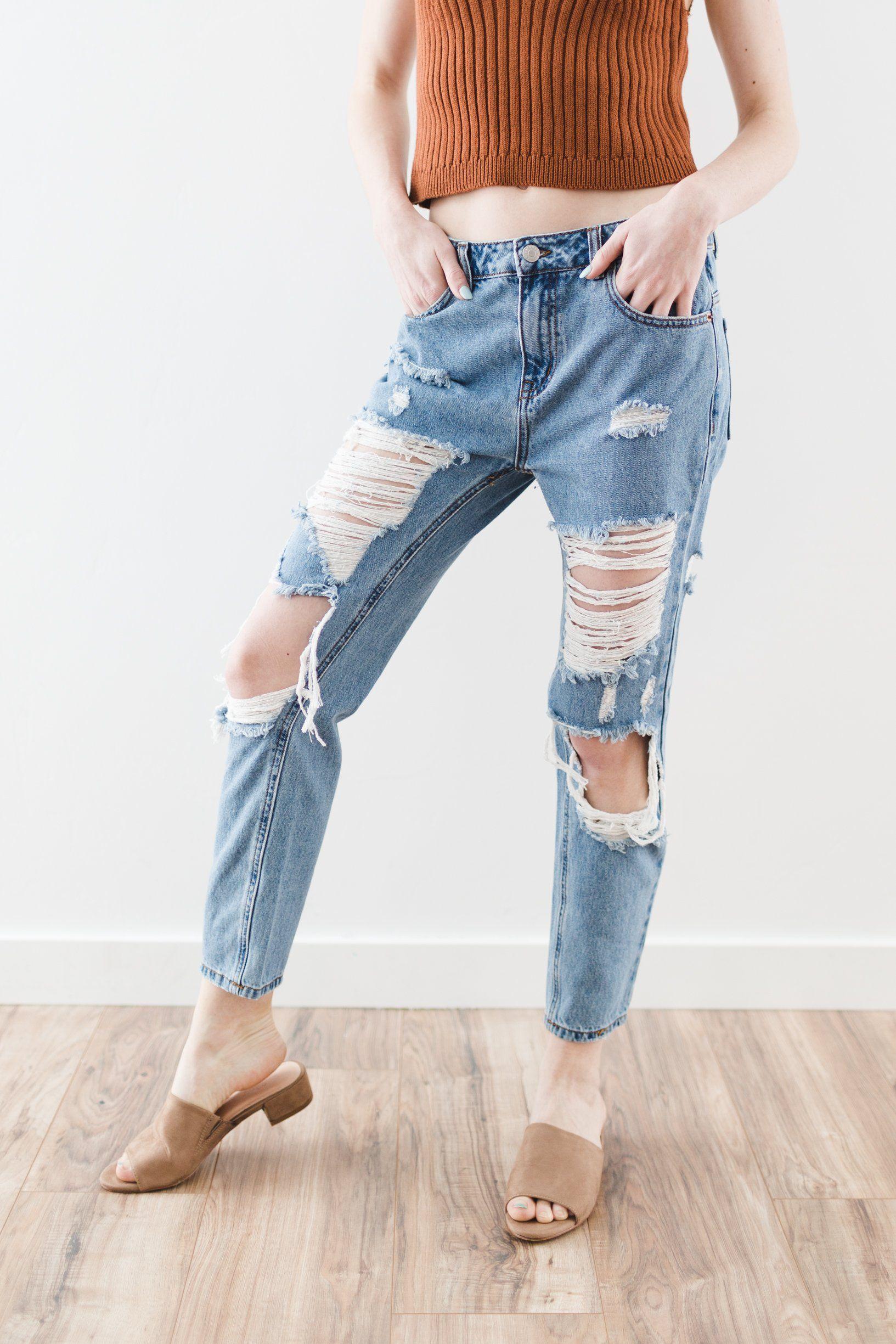 639a0c62b604 Destroyed Boyfriend Jeans