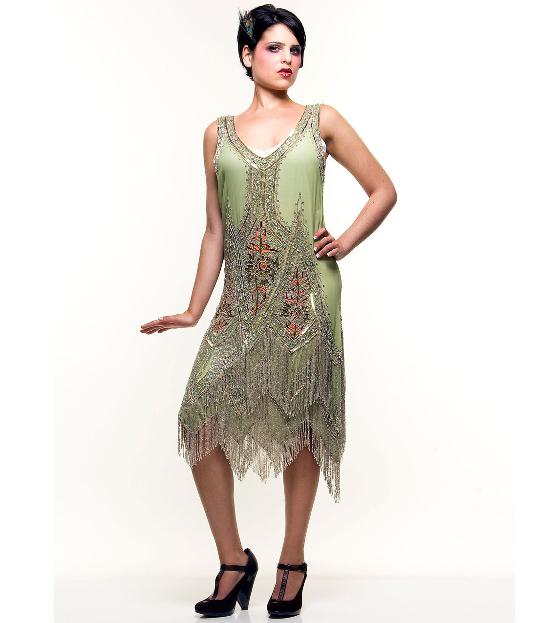 Green & Silver Embroidered Reproduction 1920's Flapper