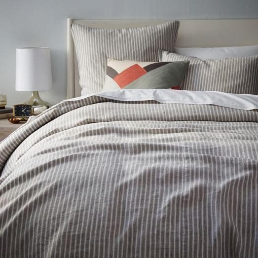Striped Belgian Linen Duvet Cover Shams Platinum West Elm
