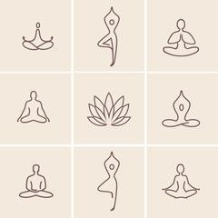 Yoga Icons / Set of outline icons and symbols for spa center or yoga studio