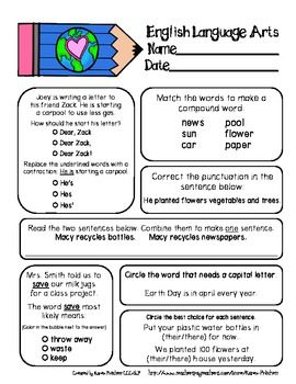Earth Day Math And Ela Morning Work Pack Aligned With Common Core