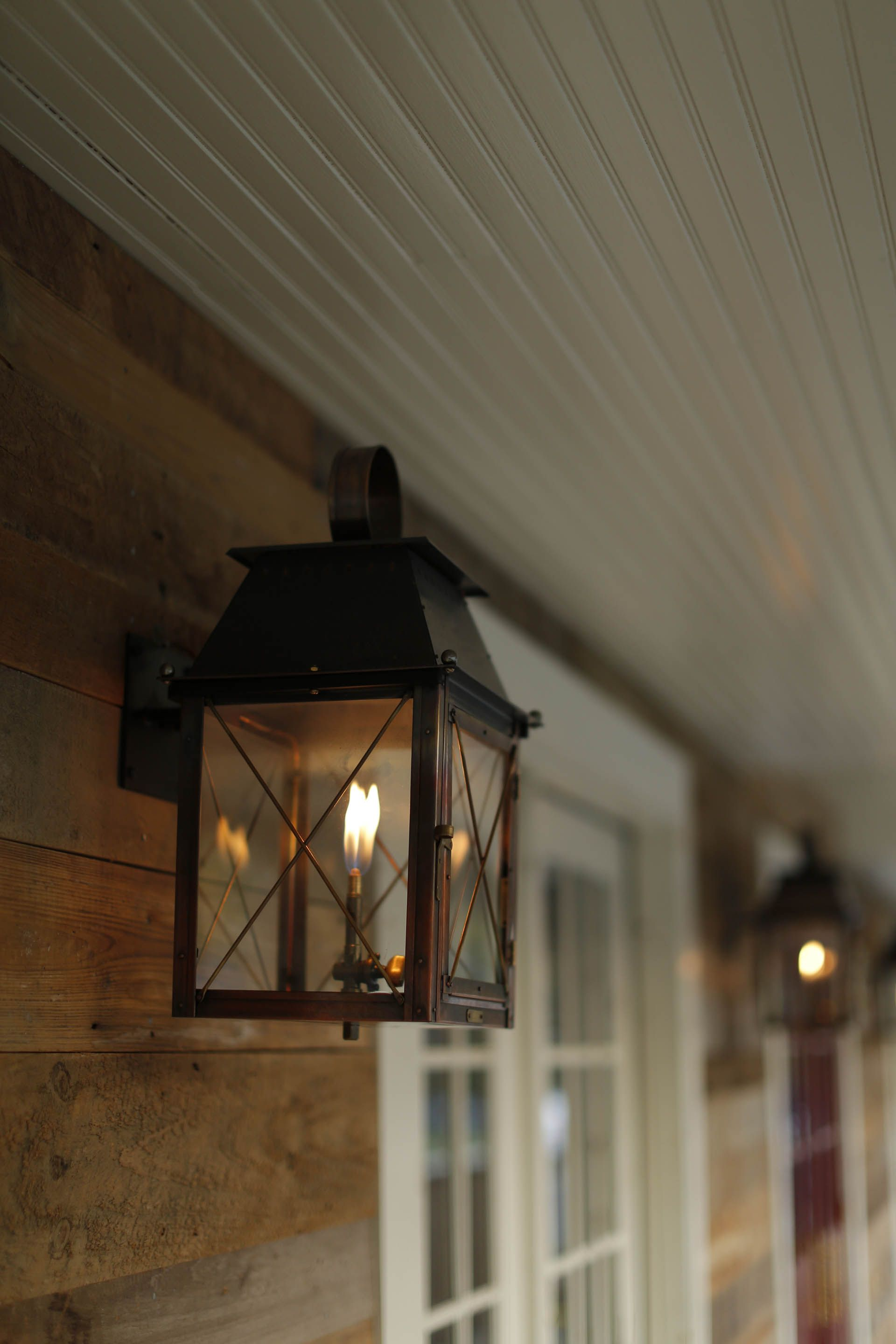 These Gaslights Are A Wonderful Addition To An American Style Restaurant In New Jersey Scheduled Via Http Www T Copper Lighting Exterior Lighting Gas Lights