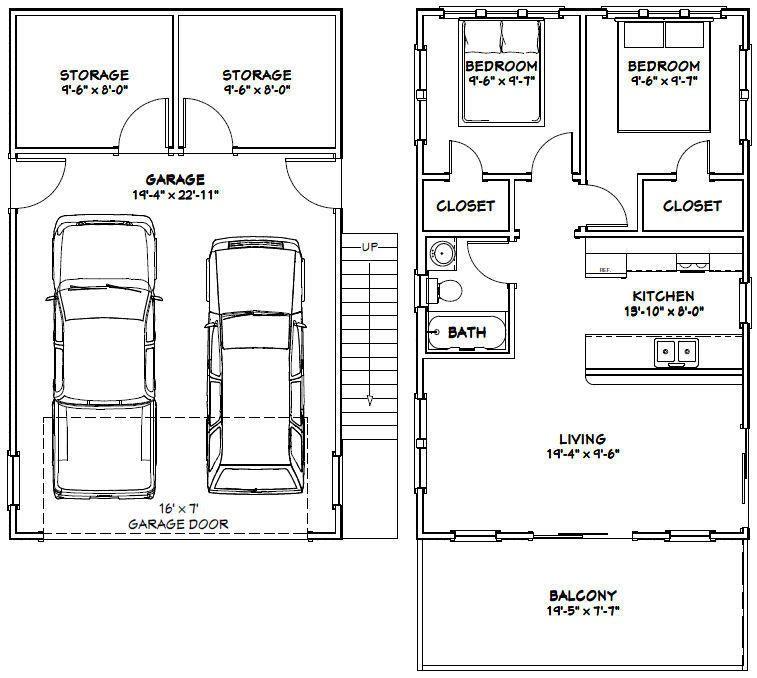 20x32 House -- 2 Bedroom -- 4:12 Roof Pitch -- PDF Floor ...