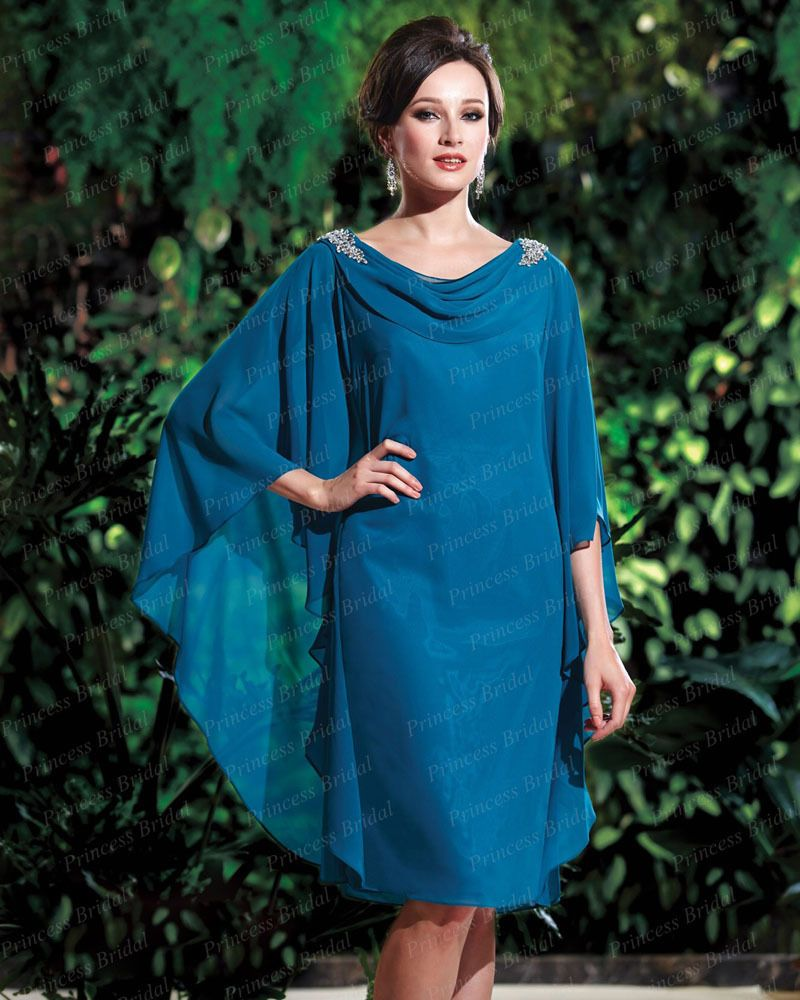 Teal Chiffon Knee Length Mother of the Bride Dresses 2017 – fashion ...