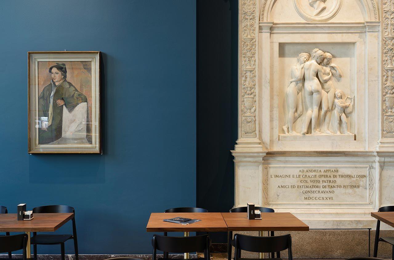 Caffe Fernanda Echos The Magnificent Renovation Of Milan S Pinacoteca Di Brera Yatzer Museum Cafe Blue Painted Walls Milan Design Week