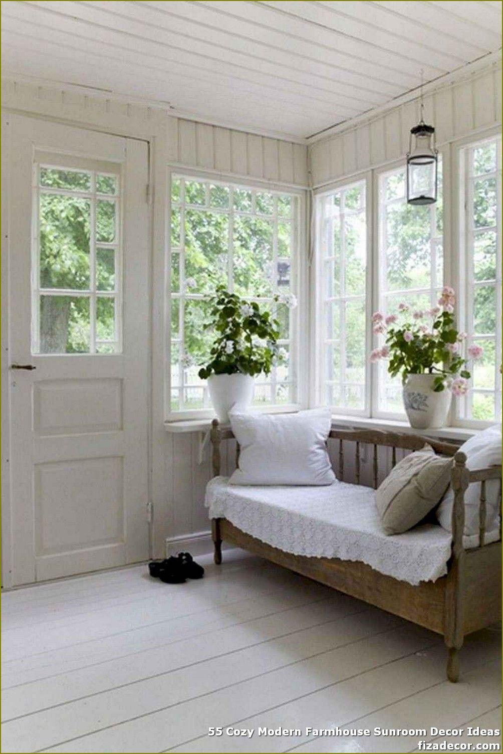 55 Cozy Modern Farmhouse Sunroom Decor Ideas Sunroom