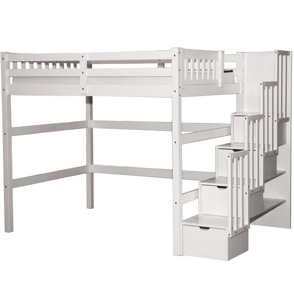 Aria Stairway Full Loft Bed White Twin Loft Bed Loft Bed Plans Staircase Loft Bed