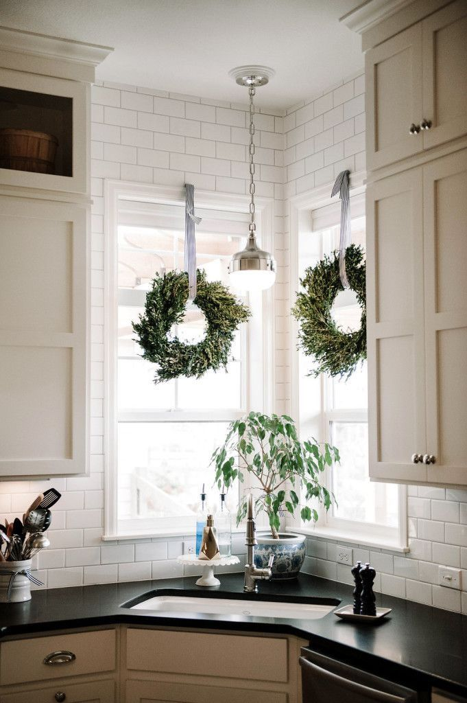 Pin By Guinevere Tahar On Christmas Ideas Corner Sink Kitchen Home Kitchen Window Treatments