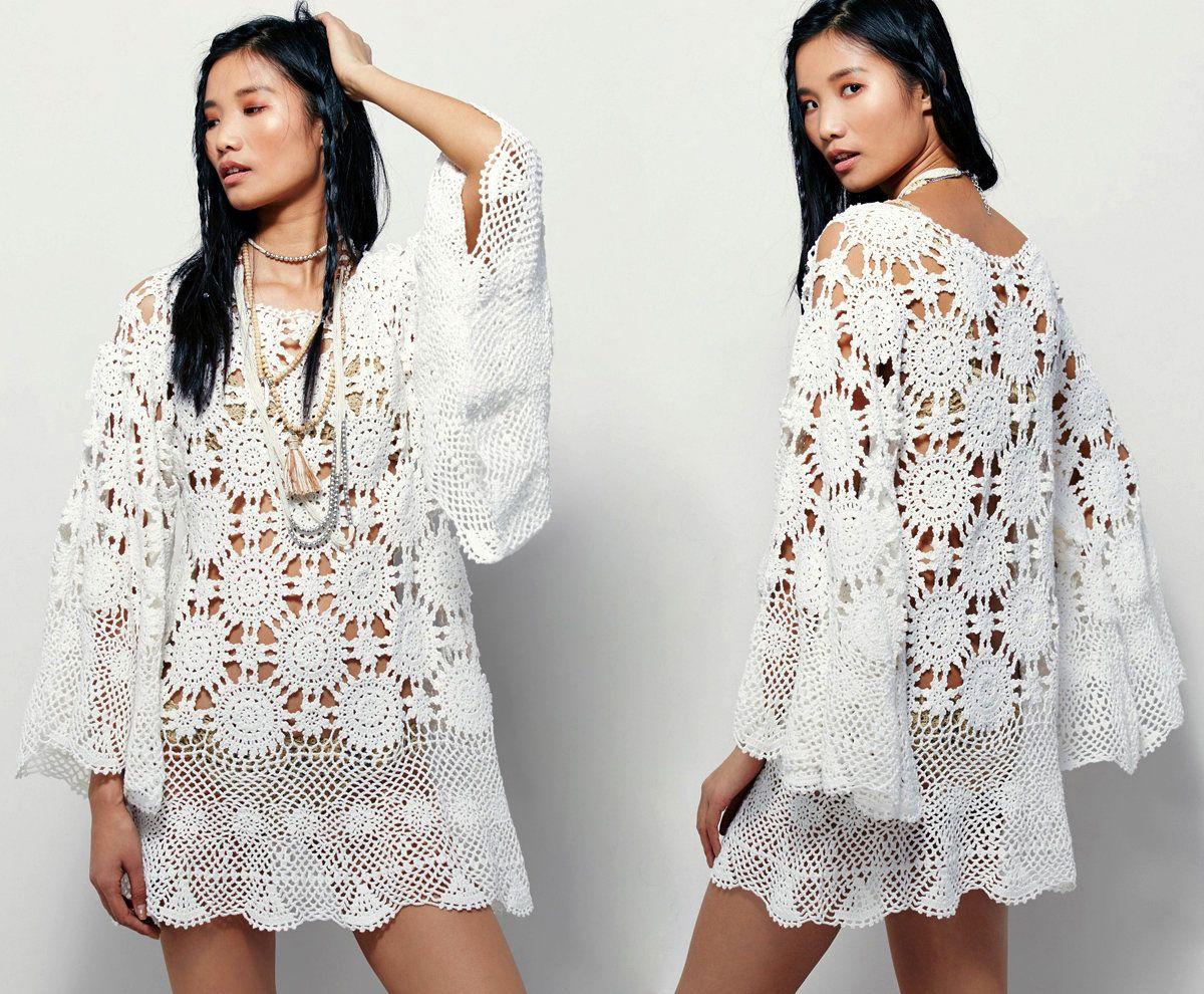 Angel sleeves crochet dress PATTERN, crochet TUTORIAL in
