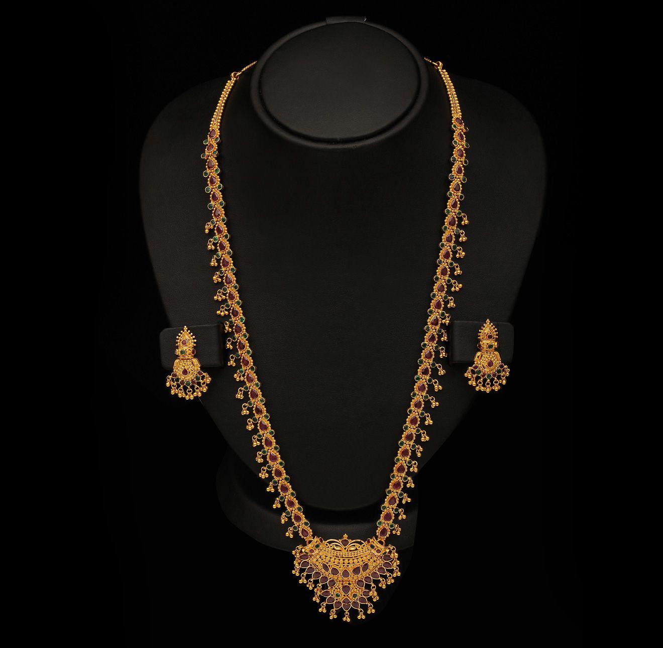 Gold and Diamond jewellery designs: Long gundmala Gemstone Haram ...
