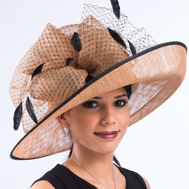 d225943ed Cognac and black Simamay church hat | Hats in 2019 | Sinamay hats ...