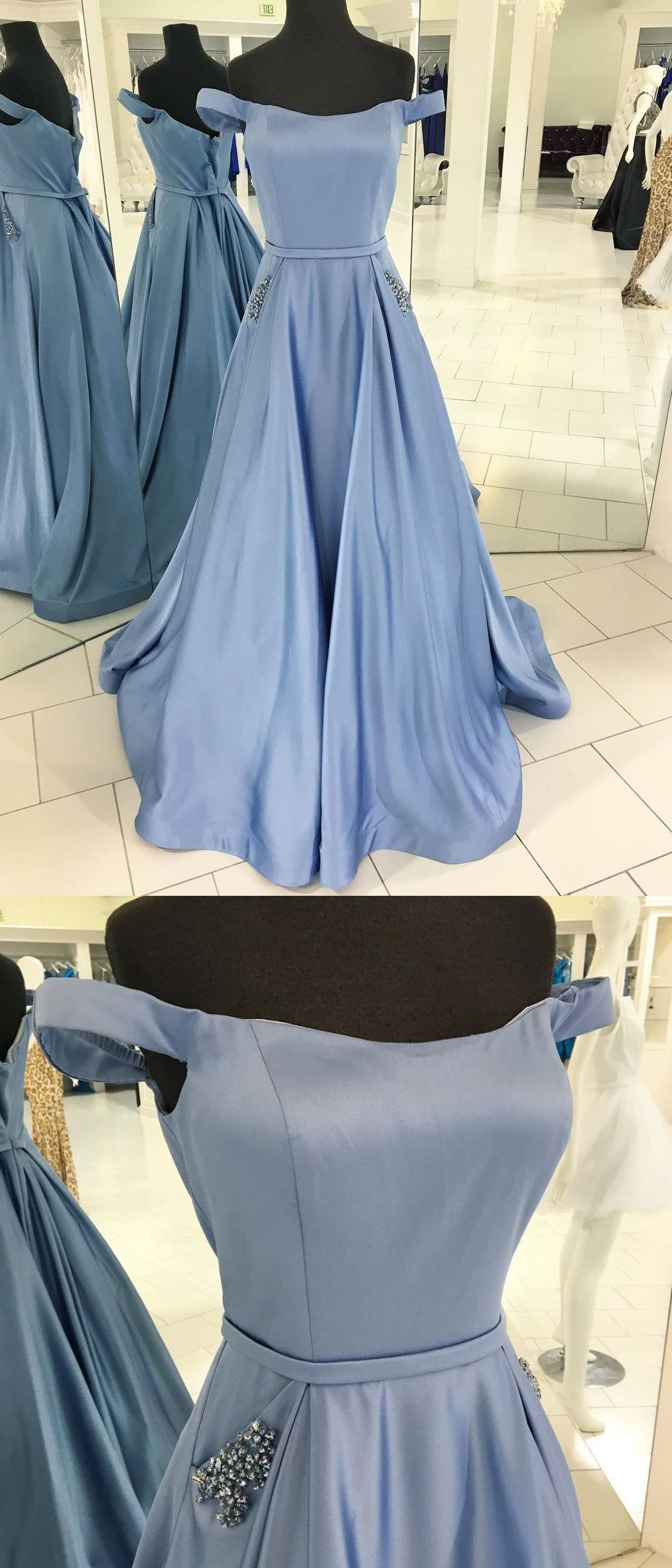 Off the shoulder aline satin with beaded formal long cheap prom