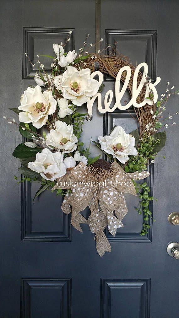 Photo of Signature Magnolia Wreath, Spring Magnolia Wreath, Best Selling Wreaths Magnolia…