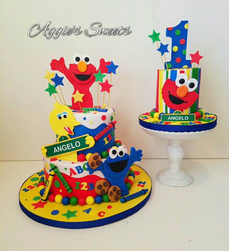 Sesame Street Birthday Cake And Smash Cake With Images Sesame