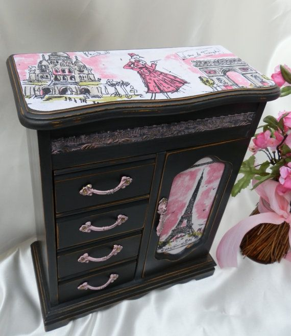 Upcycled Wood Jewelry Box France Paris Eiffel Tower Theme Annie Sloan Chalk Paint Graphite - Black - Antoinette Pink Hardware