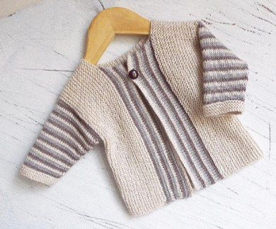 This cardigan is knitted from side to side, commencing at sleeve. A very easy pattern that would be appropriate for both boys and girls so you can get knitting before the baby's gender is known. The garter stitch creates a comfy, stretchy fabric that makes sizing more flexible so it can be worn for more than just a few weeks. The striping sequence is just enough to be interesting. This project works up quickly and does not require constant attention. Very little sewing involved. Comes with…