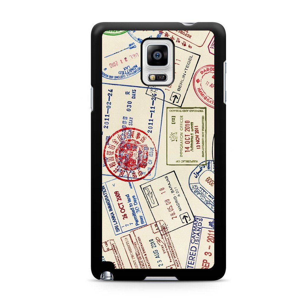Travel Passport Stamps For Samsung Galaxy Note 4 Case in