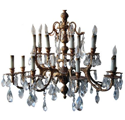 "French Style Brass/Crystal Chandelier - 26"" Drop x 32"" Round (713)  $650"