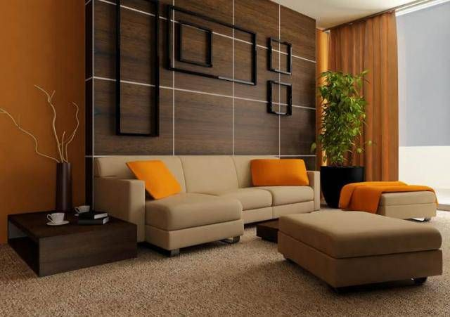 living room color schemes | brown orange living room color scheme