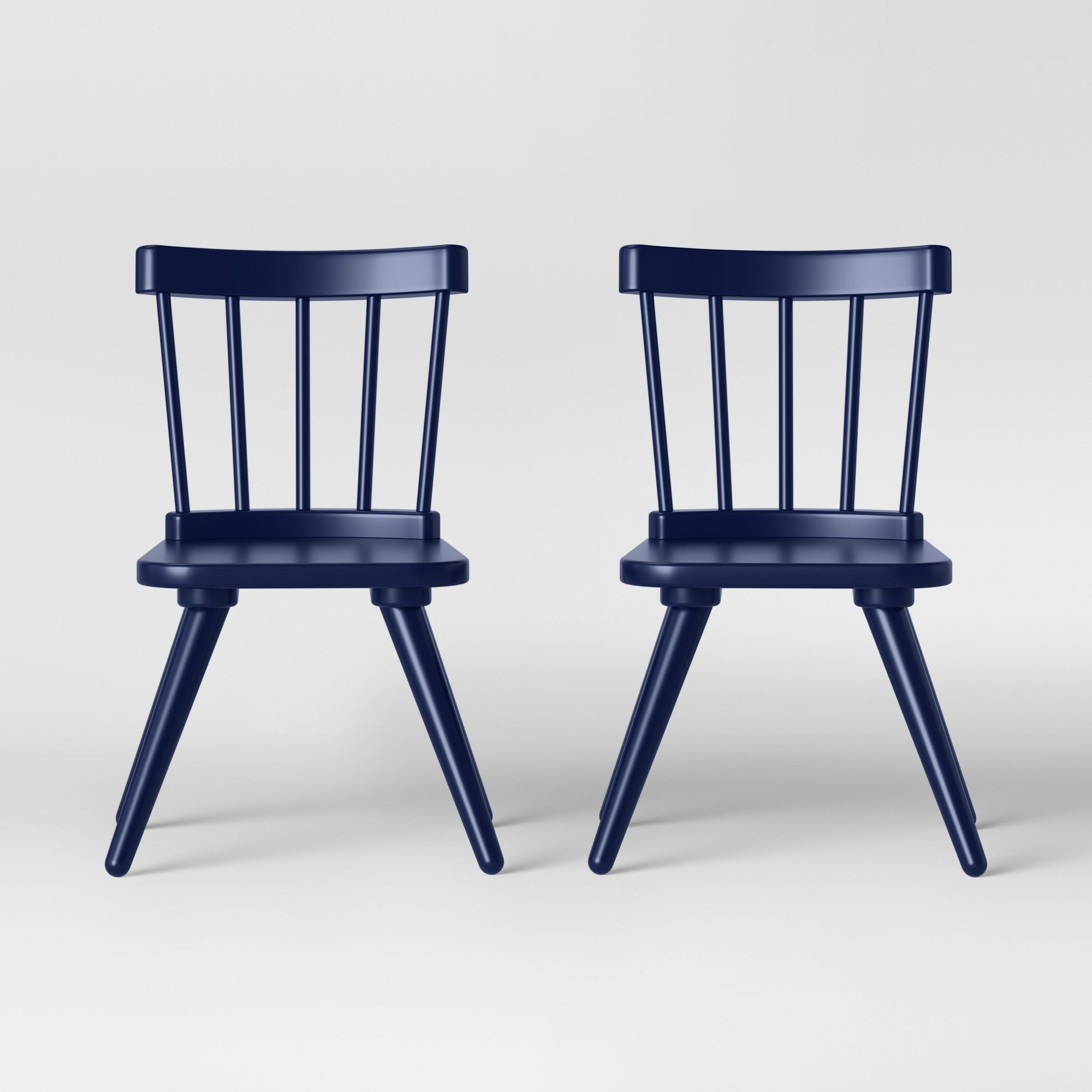 Blue Kitchen Table And Chairs: Set Of 2 Kids Windsor Wooden Chairs Navy (Blue