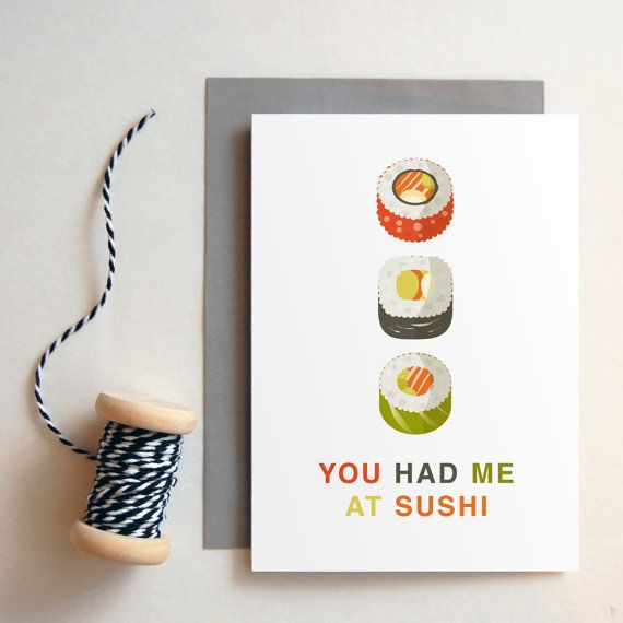 You had me at sushi greeting card boyfriend gift long distance ldr greeting card available at byseaandsky m4hsunfo