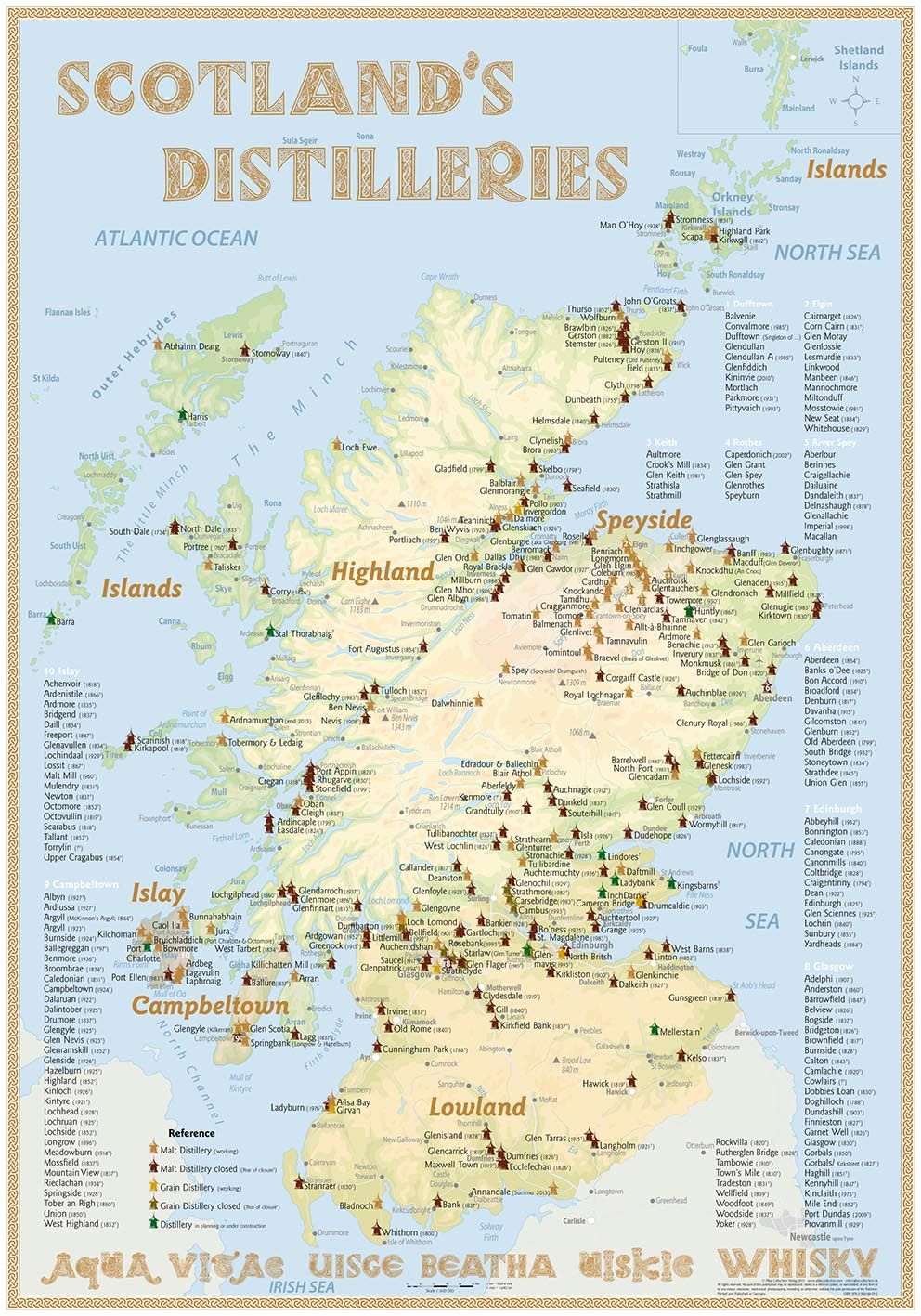 Scotland's Distilleries Map (3rd Edition · 2013 · Poster) with all on