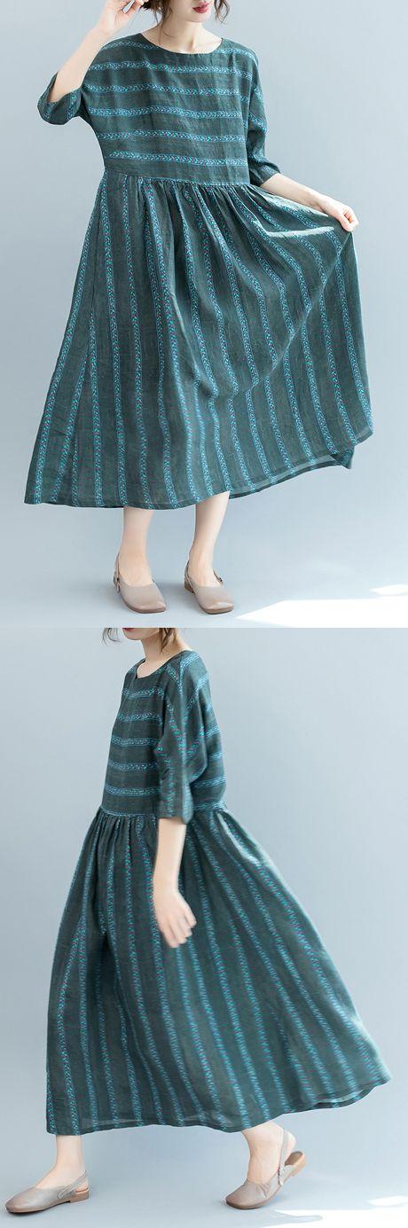 9f9eab612d Fashion dull green striped natural linen dress oversized o neck ...