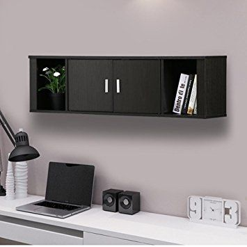 Topeakmart Wall Mounted Floating Media Storage Cabinet Hanging Desk Hutch 2 Door Compartment Home Office