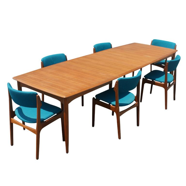 Teak Dining Room Table And Chairs: Erik Buck For Povl Dinesen Teak Dining Table And Six