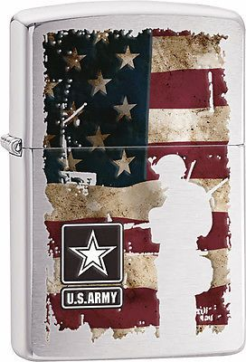 Zippo-Classic-US-Army-United-States-Flag-Brushed-Chrome-Z114-Windproof-Lighter