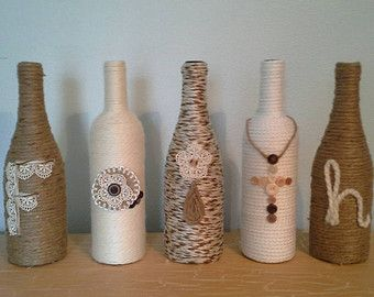 Glass Bottles For Decoration Upcycled Wine Bottles Wrapped In Twine Andstacyshappyplace