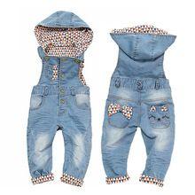 90e5e10377c 0-4T Baby Girls Rompers Spring Infant Jeans Overalls Bebe Girl ...