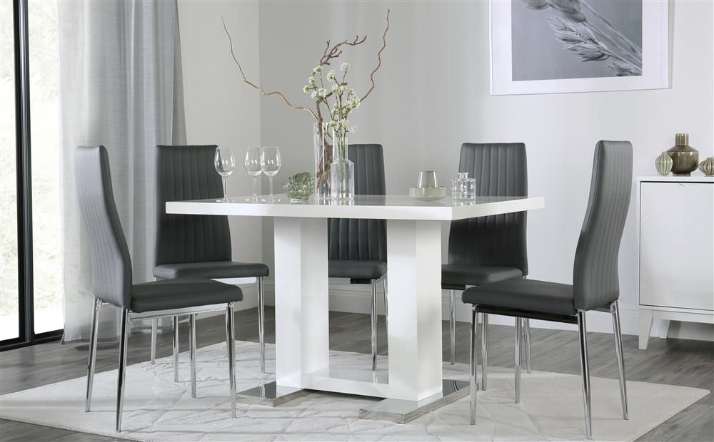 Joule White High Gloss Dining Table With 4 Leon Grey Leather