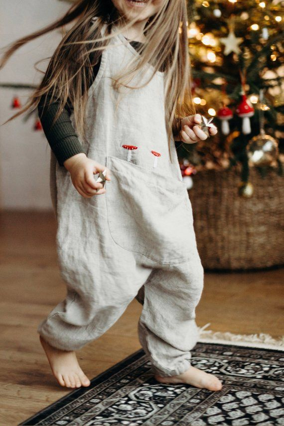Embroidered Linen Jumpsuit Sunny / Linen Kids Overall with Exclusive Handmade Embroidery – cute outfits