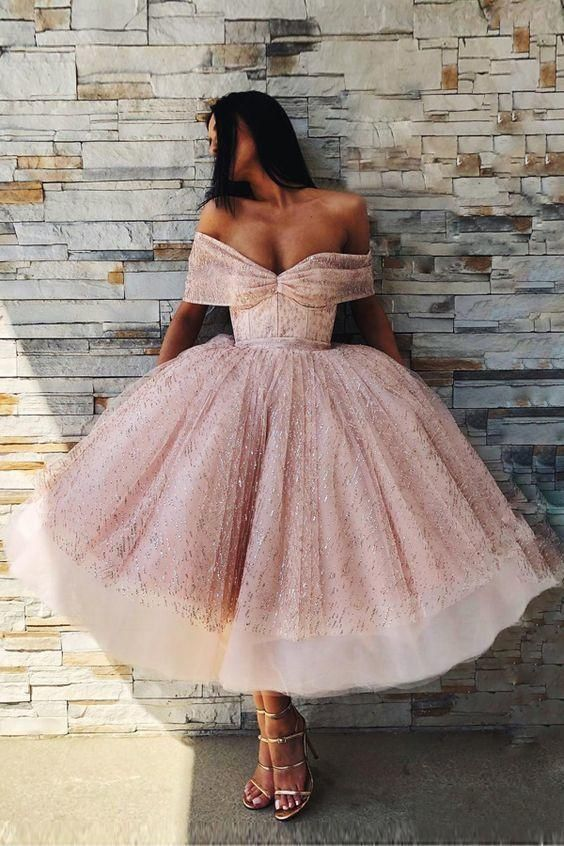 charming off the shoulder ball gown prom dress glamorous pink tea length prom dress with sequins charming off the shoulder ball gown prom dress glamorous pink tea length...