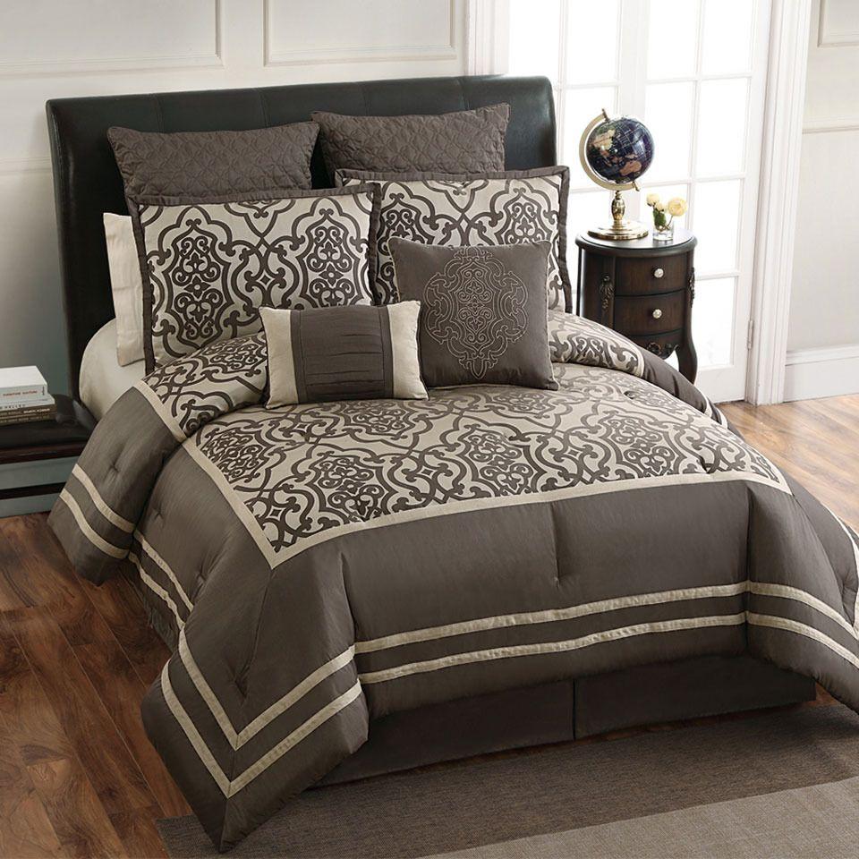 Victoria Classics Adahlia 8-Piece Queen Comforter Set In Gray & Beige - love love love this!!!