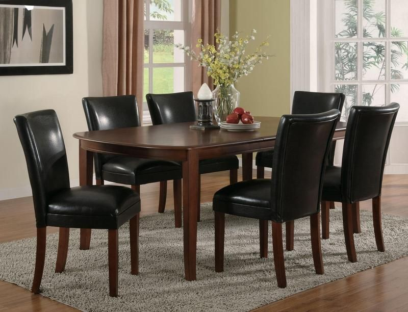 7 Pc Cherry Wood Dining Set Leaf Table Parson Chairs Black