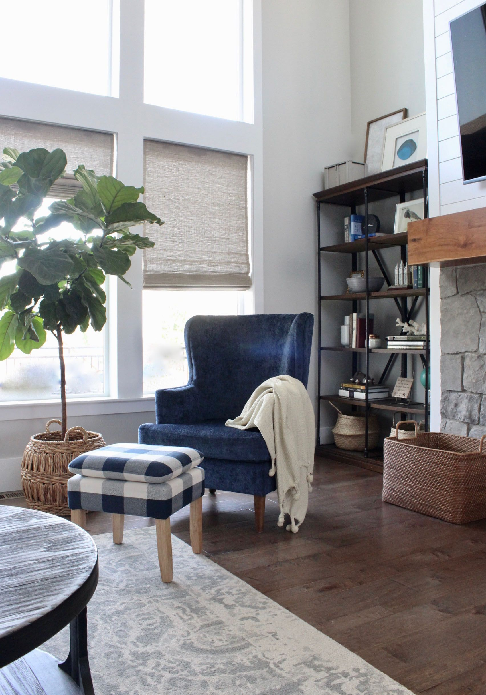 Rustic Modern Family Room Blue Chair