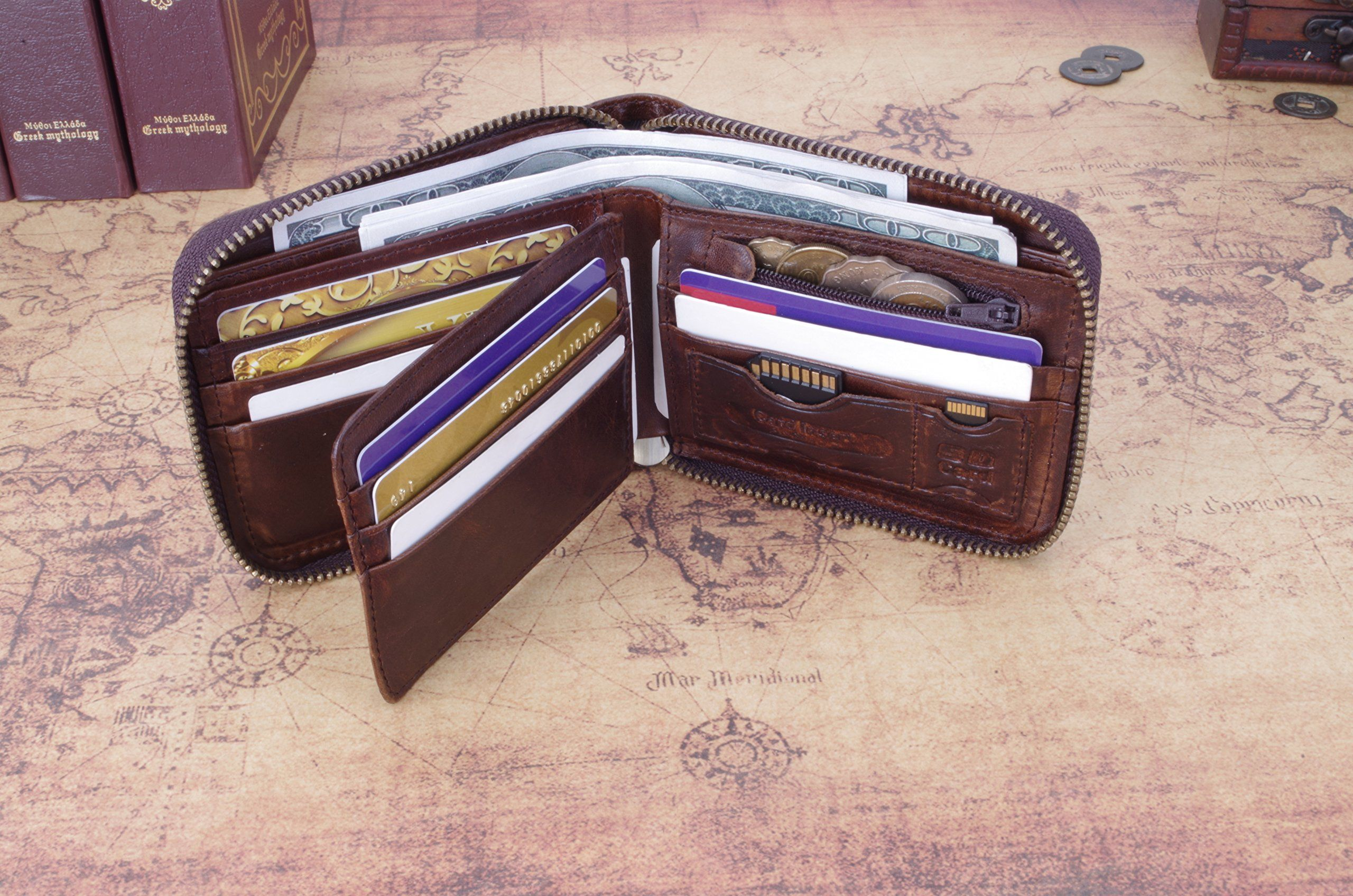 Admetus genuine leather zippered bifold gifts for men