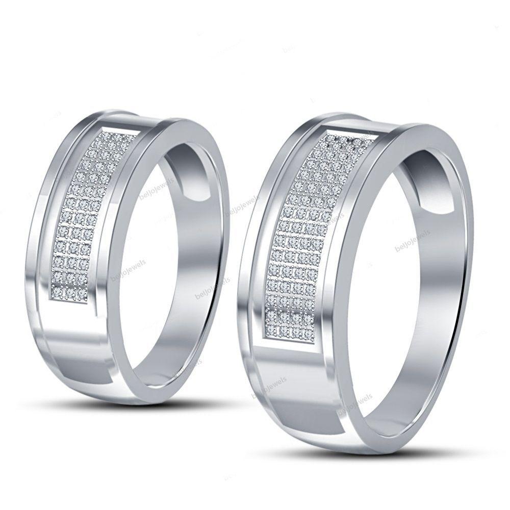 0.67 Carat Couple Band 14K White Gold Finish Silver With Simulated Diamond Round #beijojewels #CouplesWeddingBand