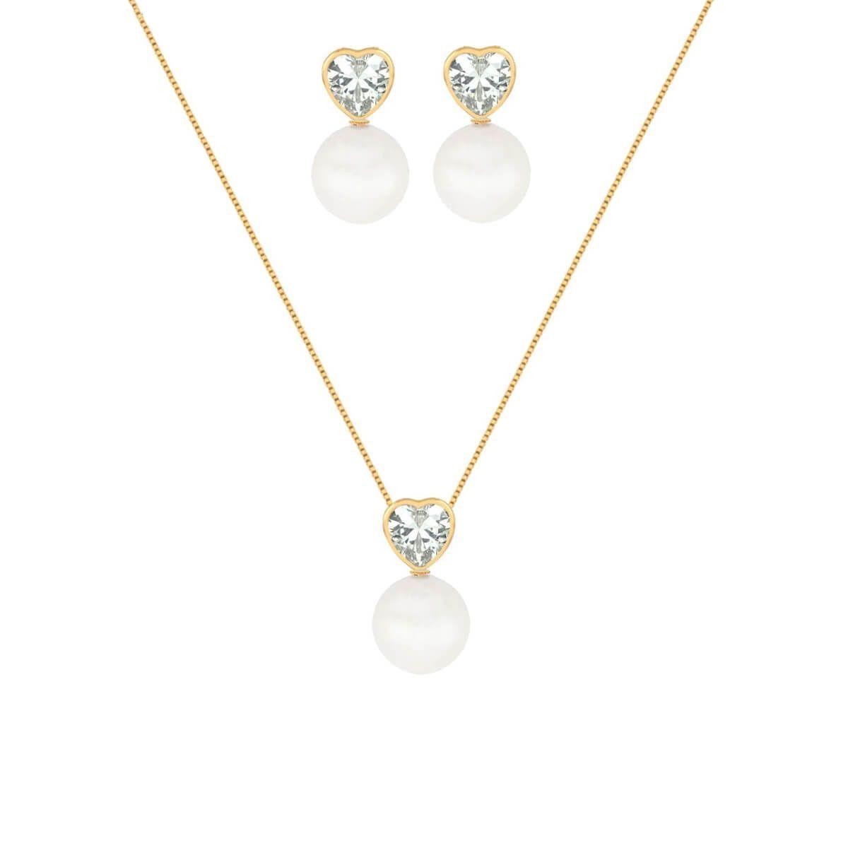 Conjunto de colar e brinco com pingente brinco com base de cristal coração  e pérola 6db89997d4