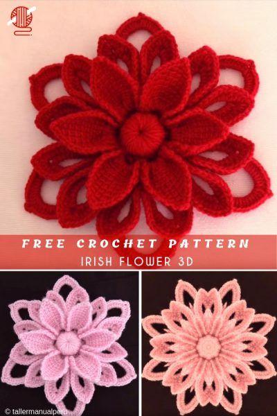 Irish Flower 3D Free Crochet Pattern #irishcrochetflowers