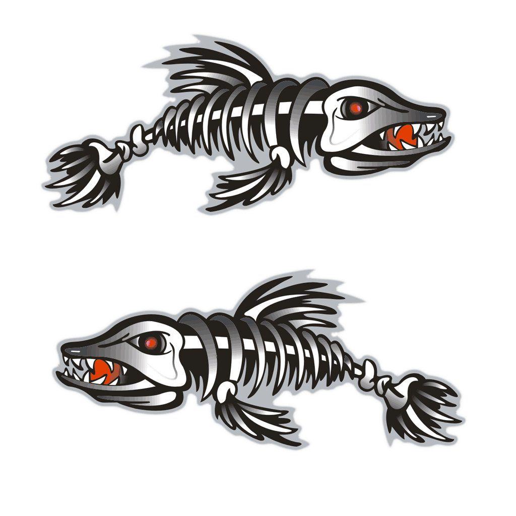 Skeleton Fish Vinyl Decals for Boat Fishing graphics Bone Bones sticker 2
