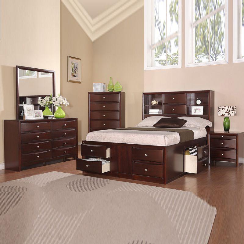 Best 4 Pcs Modern Espresso Storage Bookcase Headboard Captains 400 x 300