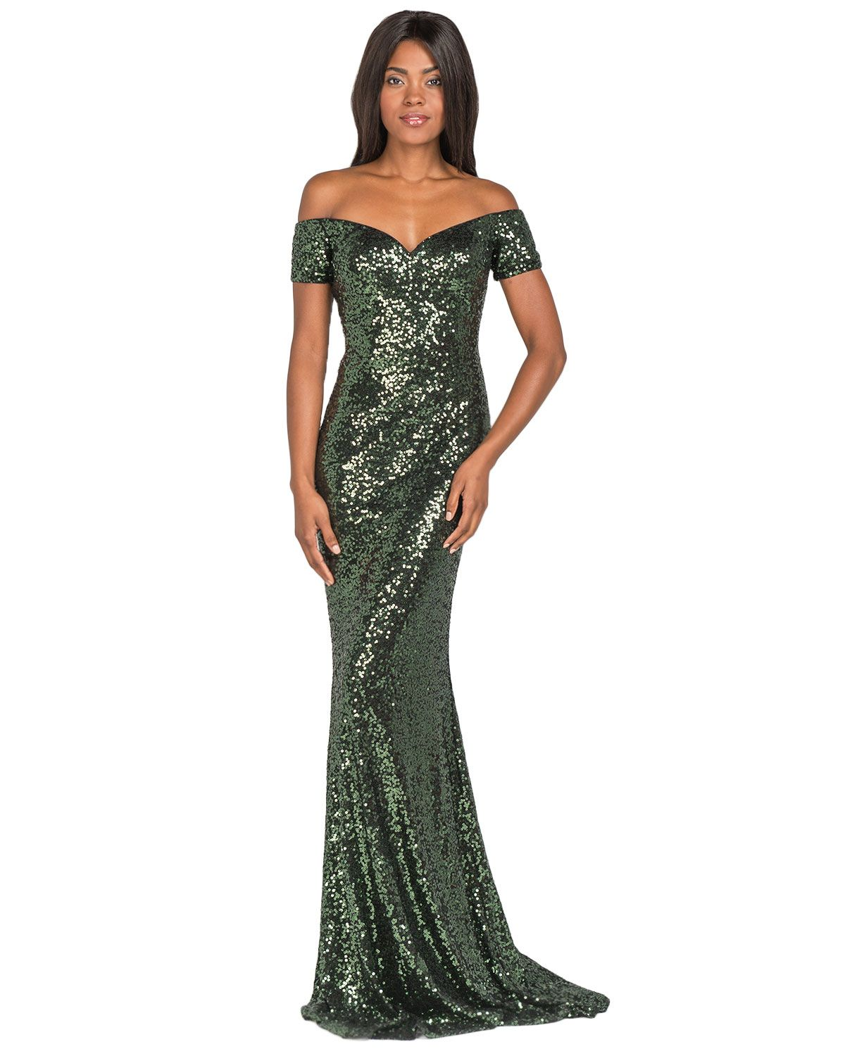 Badgley Mischka EG2042 Off-Shoulder Sequin Gown, now available at ...