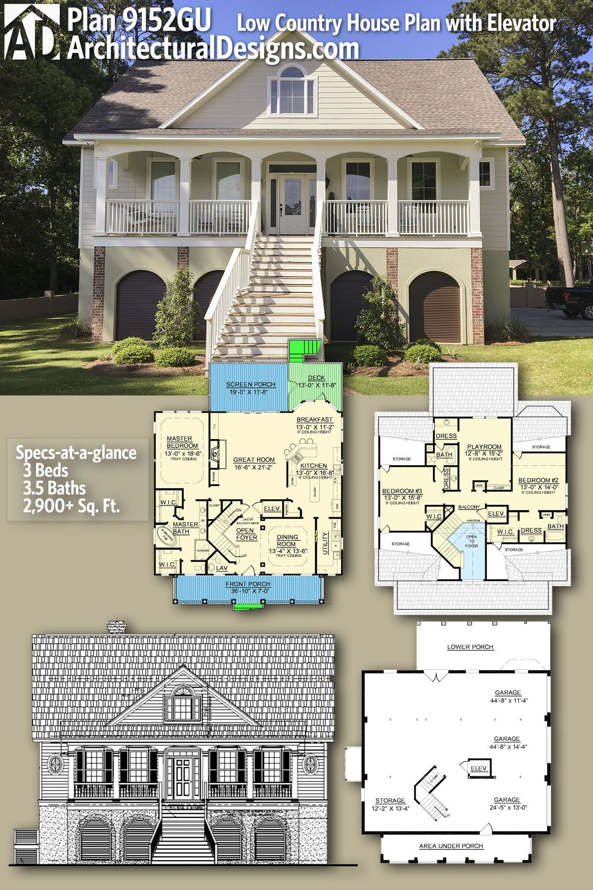 Plan 9152gu Low Country House Plan With Elevator Architectural Design House Plans Low Country Homes House Plans