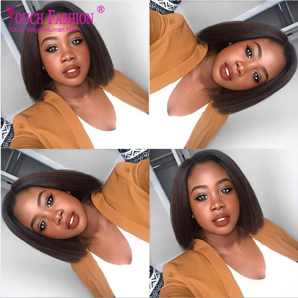 $125.98 (Buy here: http://appdeal.ru/dbjy ) Short African American Bob Wigs Silky Straight Brazilian Full Lace Human Hair Bob Wigs for Black Women Middle Part Natural Color for just $125.98