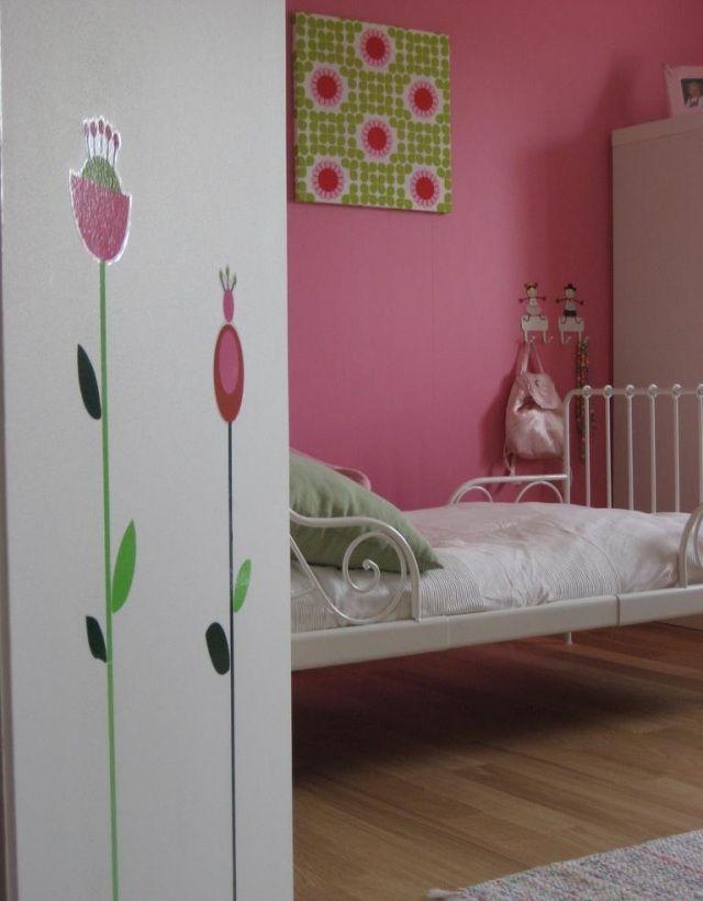 wandfarben ideen kinderzimmer rosa grüne akzente dekorationen ...