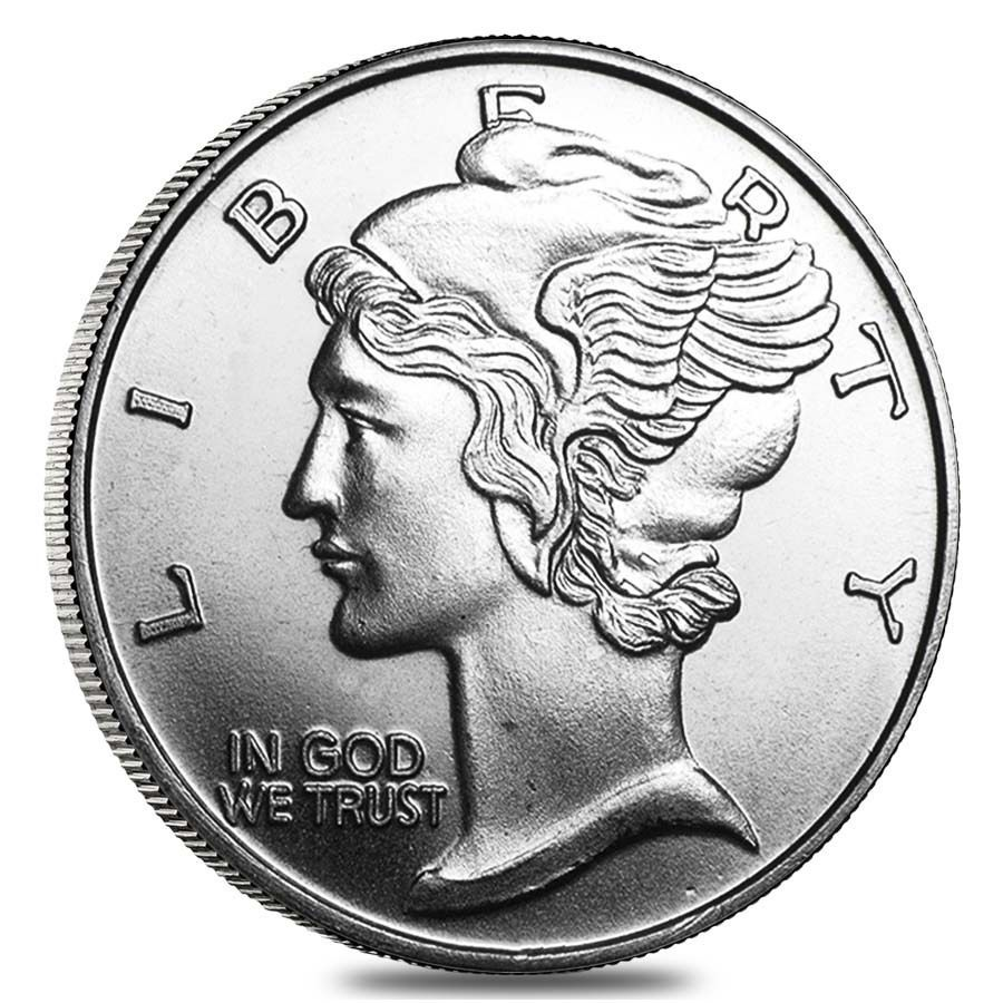 Mercury Dime Design 1 Troy Ounce 999 Fine Silver Round