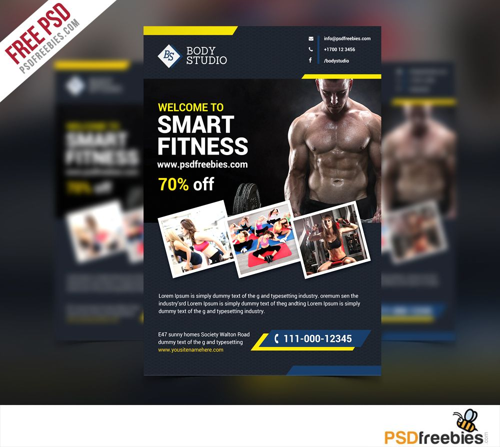 Fitness Or Gym Flyer Template Free Psd  Flyer Template Template